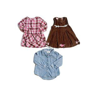 Lot of 3 Baby Girl Clothes 2 Dresses And 1 Long Sl